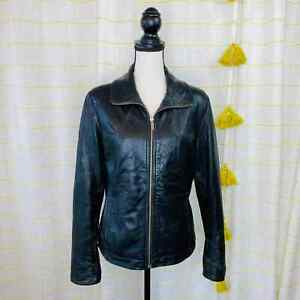 Vintage 90s Wilsons Leather Leather Jacket Women Small Black Fitted Moto Hipster