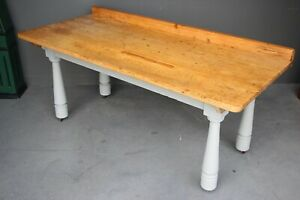Rare antique Provincial kitchen scullery table beautiful polished bakers bench