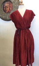 Jonathan Logan Petite Studio 54 Vintage 70s V Neck Silk Dress Burgundy Maxi
