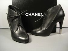 CHANEL RUNWAY BLACK LEATHER LACE UP ROUND TOE ANKLE BOOTS PUMPS SHOES 38.5 NEW