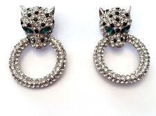 Butler and Wilson Medium Clear Crystal Leopard Head Ring SILVER Tone Earring NEW