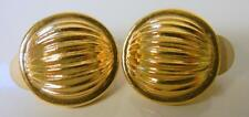 Tone Ruffled Earrings Clip On Rare Vtg Paris New York Givenchy Couture Gold