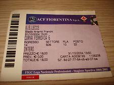 Billet Ticket Série à 2004/2005 Fiorentina Lecce 31/10/2004 Courbe Chemin