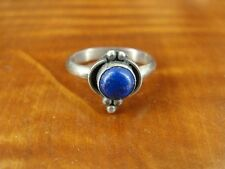 Round Blue Lapis Stone Sterling Silver 925 Ring Size 5 1/2