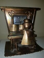 Vintage Copper Tin Piano Man Player Music Box - Plays The Entertainer