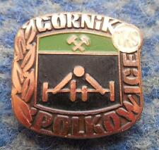 GORNIK POLKOWICE WEIGHTLIFTING POLAND CLUB 1980's BRONZE VERSION PIN BADGE