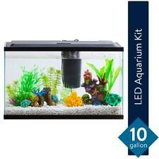 Aqua Culture 10-Gallon Aquarium Starter Kit With Led Lighting Pet Fish Equipment