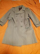 US ARMY MILITARY Double Breast Belt Green Wool Trench Coat Overcoat Men size 40s