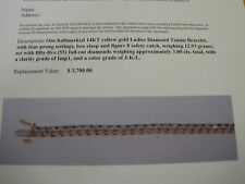#189 ladys 14Kyellow gold 55  genuine diamond 3ct. tennis bracelet