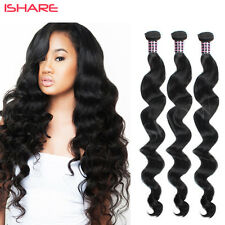 Brazilian Virgin Human Hair Weave Wavy Weft Extension Loose Wave Nature Black