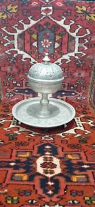 vintage Tameria silver plated white brass stamped decorated and inlaid