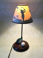 Vintage Golf Golfing Table Lamp Statue and Shade