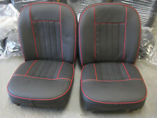 MG MIDGET SPRITE  REUPHOLSTERED BLACK LEATHER & RED PIPE  MK2 SEATS 1965 TO 68