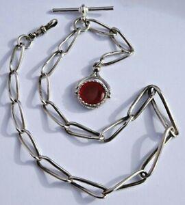 Unusual antique solid silver pocket watch albert chain & bloodstone swivel fob