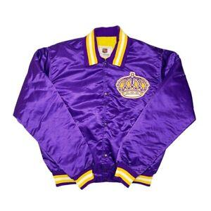 Vtg Rare NHL Los Angeles Kings Purple Gold Starter Satin Jacket. Mens Large
