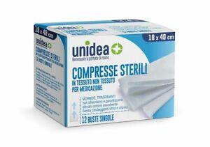 Unidea Compresse di Garze Sterili in Tessuto non Tessuto 18 x 40cm 12 pezzi