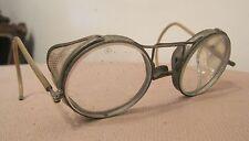 rare antique motocycle AO floding aviator metal riding eye glasses goggles pair