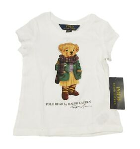Polo Ralph Lauren Girls White Cardigan Polo Bear Graphic Short Sleeve T-Shirt