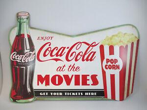 Coca-Cola Tin Sign Coke At the Movies Bottle and Popcorn Retro