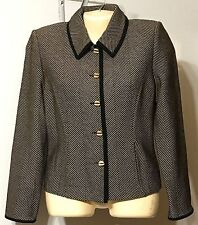 St. John Collection Jacket by Marie Gray Size 8 USA Made VGC Black Tan Buttons