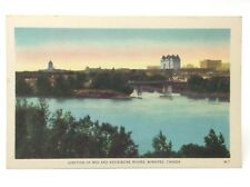 Vintage Winnipeg Canada Red & Assiniboine Rivers Unposted Postcard E470
