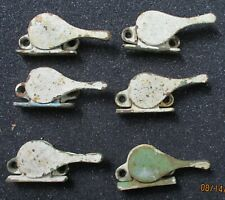 6 Painted ANTIQUE Cast Iron Banjo Window Sash Locks Holders