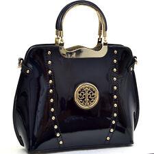 New Womens Handbags Patent Leather Satchels Tote Shoulder Bag Metal Handle Purse