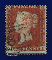 1854 SG17 1d Red-Brown C1(1) QI Misperf Good Used Cat £35 cpop