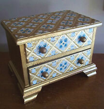 VTG ROMEO JULIET what is youth HAND PAINTED wood MUSIC jewelry BOX japan VANITY