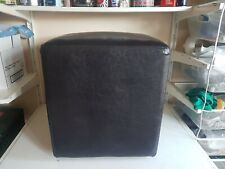 Square Footstool Foot Rest Faux Leather Brown Fabric Legs Furniture Home Decor