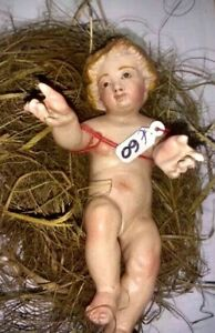 Gesù bambino in terracotta occhi vetro alto cm. 13  Napoli
