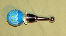 Wine Bottle Stopper Murano Glass Ball Millefiori Style Teal Blue Hand Blown NEW