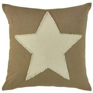 "Taupe & Star Pillow Cover - 20"" - Handmade - Dark Tan w/ White Star - CLEARANCE"