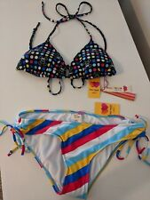 NEW Women's Paul Frank Bikini Set Black w/ Polka Dots Rainbow Stripes Large NWT