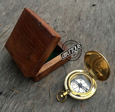 Valentine Pocket Friendly Navigation Compass with Case Wood Plain Design Hiki