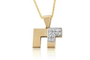 0.12 Ct Natural Diamond Chai Pendant in 14K Solid Yellow Gold -IGI-