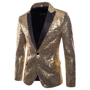 Men One Button Suit Bling Sequins Tuxedo Suit Party Coat Blazer Gentleman Jacket
