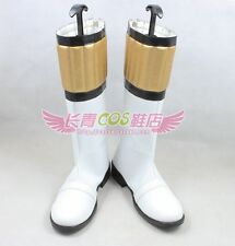 Kyoryu Sentai Zyuranger White Cosplay Halloween Long Shoes Boots C006