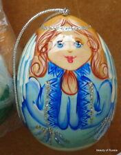 "ornament Russian hand painted wood egg-  angel .2.7 ""  blue"
