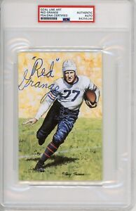 Red Grange Signed Goal Line Art Card GLAC Autographed Bears Yankee Illinois PSA