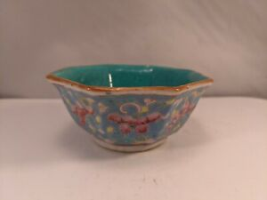 Antique Chinese 8-Sided Porcelain Altar Bowl Famille Rose Flowers Blue China