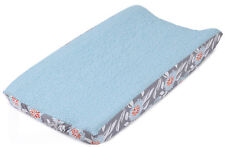 Balboa Baby Grey Dahlia Collection Floral Changing Pad Cover - Aqua & White Dot