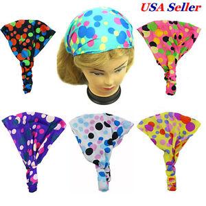 6 Assorted Women Girl Polka Dot Fabric Headwrap Headband Elastic Hair Accessory