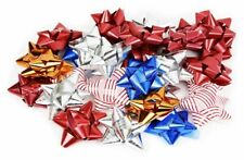 """36 Peel and Stick Colored Star Bows 3"""" Holidays Birthdays Special Events Variety"""
