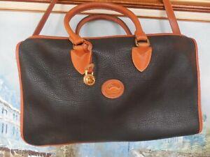 *Vintage Dooney & Bourke Large Satchel Bag Purse Black And Tan