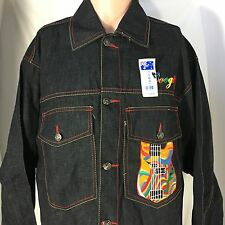 NEW Coogi Guitar Denim Jean Jacket XL Black Australia Hip Hop Streetwear