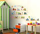 Boy Kids Room Cartoon School Bus Truck Helicopter Decor Decal Vinyl Wall Sticker