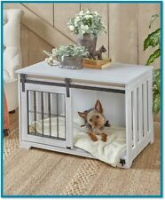 Pet Crate End Table Wooden Furniture Dog Kennel Cage Wood Doghouse Country Decor