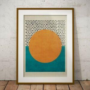 SUN ABSTRACT MID CENTURY POP ART DECO MODERN DECOR RETRO PRINT POSTER A1 A2 A3