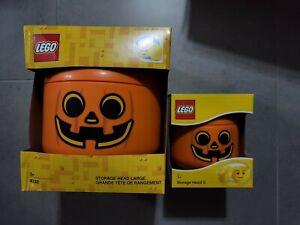 LEGO Storage Head Large #4032 & Small Bundle New Halloween Pumpkin Rare